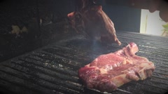 Making fine red meat BBQ Stock Footage