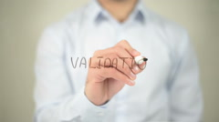 Validation , man writing on transparent screen Stock Footage