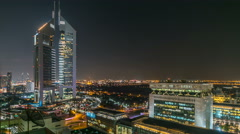 Dubai skyline from top with Emirates Towers timelapse at night time. Dubai, UAE Stock Footage