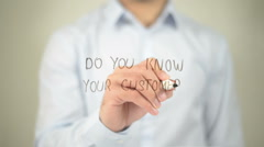 Do You Know Your Customer , man writing on transparent screen Stock Footage