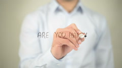 Are You Happy , man writing on transparent screen Stock Footage