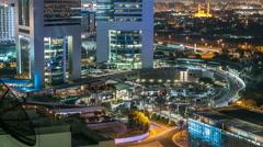 Dubai skyline from top with Emirates Towers timelapse at night time. Dubai, UAE Stock Footage