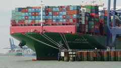 "CSCL ATLANTIC OCEAN Box Ship, ""Port Of Felixstowe"" ""River Orwell "" Suffolk Stock Footage"