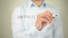 Happiness Is Priority , man writing on transparent screen Stock Footage