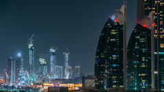 Scenic Dubai downtown architecture at night timelapse. Aerial view of  numerous Stock Footage
