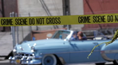 CRIME SCENE WITH CLASSIC CAR Stock Footage
