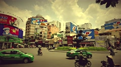 Ho Chi Minh City - Roundabout traffic view. Retro look 4K resolution time lapse. Stock Footage