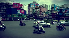 Ho Chi Minh City - Roundabout traffic view. 4K resolution time lapse, retro look Stock Footage