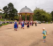 Saltaire, West Yorkshire, UK. 30th August 2016. Morris Dancers providing ente Stock Photos