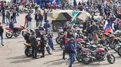 The opening of the season of bikers Stock Footage