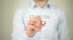 Education For All , man writing on transparent screen Stock Footage