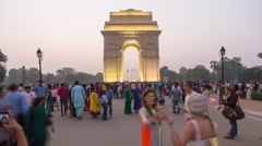 India Gate, Delhi, New Delhi, Uttar Pradesh, India - 4K timelapse - stock footage