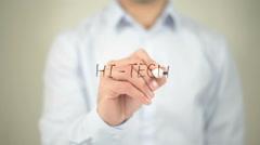 Hi Tech , man writing on transparent screen - stock footage