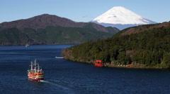 Lake Ashinoko with Mount Fuji behind, Fuji-Hakone-Izu National Park, Japan - stock footage
