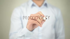 Productivity ,  man writing on transparent screen Stock Footage