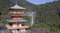 Nachisan Seiganto-ji pagoda, Kumano Nachi Shrine and Nachi Falls, Honshu, Japan - stock footage