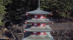 Chureito Pagoda, Arakura-yama Sengen-koen park, Fujiyoshida, Shizuoka, Japan Stock Footage