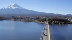 Kawaguchi Lake and Mount Fuji, Honshu Island, Japan, 4K aerial Stock Footage