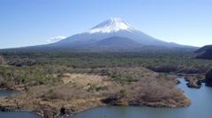 Lake Shoji and Mt Fuji, Fuji Hazone Izu National Park, Japan, 4K aerial - stock footage