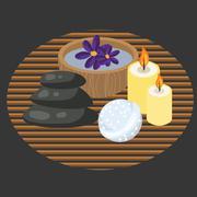 Spa procedure accessories on makisu woven mat - stock illustration