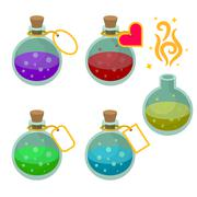 Magic potion bottles with tags Stock Illustration