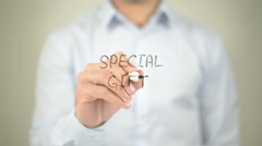 Special Gift , man writing on transparent screen Stock Footage