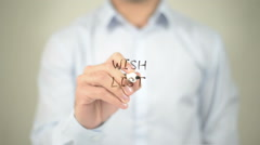 Wish List , man writing on transparent screen Stock Footage