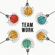 Teamwork business concept of modern human brains - stock illustration