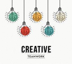 Creative teamwork concept design with human brains - stock illustration