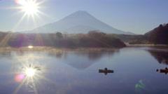 Sunrise over Lake Shoji and Mt Fuji, Fuji Hazone Izu National Park, Japan - stock footage