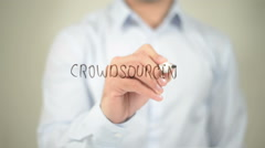 Crowd Sourcing , man writing on transparent screen Stock Footage