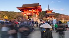 Kiyomizu-dera temple, Kyoto, Honshu, Japan, 4K timelapse Stock Footage