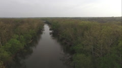 River flowing between tree line of forest aerial view Stock Footage