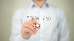 Brain And Idea , man writing on transparent screen - stock footage