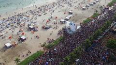 High angle Ipanema Beach street carnival, Rio de Janeiro, Brazil Stock Footage