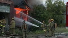 Firefighters battle House Fire in Detroit Stock Footage