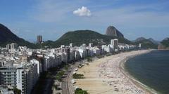 Elevated view of Copacabana beach, Rio de Janeiro, Brazil, South America - stock footage