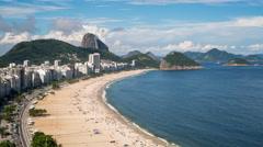 Elevated view of Copacabana beach, Rio de Janeiro, Brazil, South America - 4K - stock footage