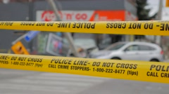 Police Line Tape Do Not Cross Car Crash Blur Stock Footage