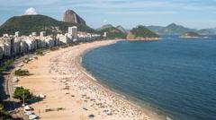 Elevated view of Copacabana beach, Rio de Janeiro, Brazil, South America - 4K Stock Footage