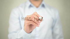 Hand Made , man writing on transparent screen Stock Footage