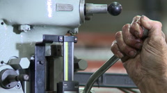 Industrial Machine Shop Drilling with greasy hands - stock footage