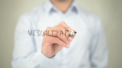 Visualization , man writing on transparent screen - stock footage