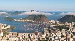 Sugar loaf mountain (Pao Acucar) and bay of Botafogo, Rio de Janeiro, Brazil 4K - stock footage