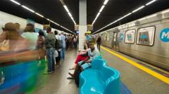 Busy underground metro platform, Rio de Janeiro, Brazil, South America 4K Stock Footage