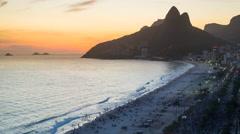 Ipanema Beach and Dois Irmaos (Two Brothers) mountain, Rio de Janeiro, Brazil 4K Stock Footage