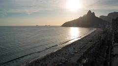 Ipanema Beach and Dois Irmaos (Two Brothers) mountain, Rio de Janeiro, Brazil - stock footage