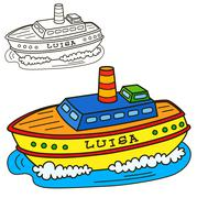 Motor ship. Coloring book page - stock illustration