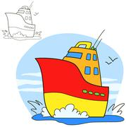 Motor ship. Coloring book page Stock Illustration