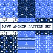 Vector  anchor seamless pattern set - stock illustration